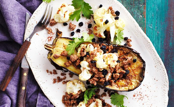Roasted eggplant with spiced lamb
