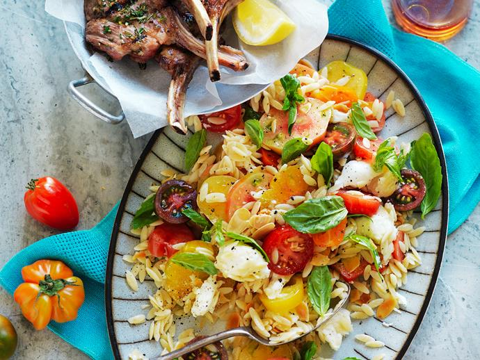 "**[Lamb with heirloom tomato and almond salad](https://www.womensweeklyfood.com.au/recipes/lamb-with-heirloom-tomato-and-almond-salad-29293|target=""_blank"")**  Quick, easy and tasty, this pasta salad is the perfect dish to whip up after work with no compromise on taste! This recipe is suitable for diabetics."