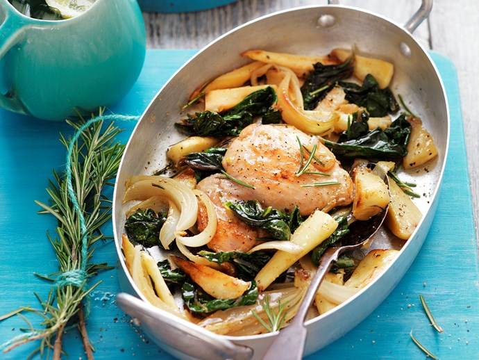 Baked chicken with maple parsnips