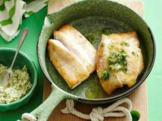 Pan fried fish with lime and coriander butter