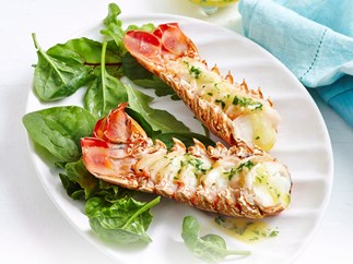 Grilled lobster tails with garlic lemon butter