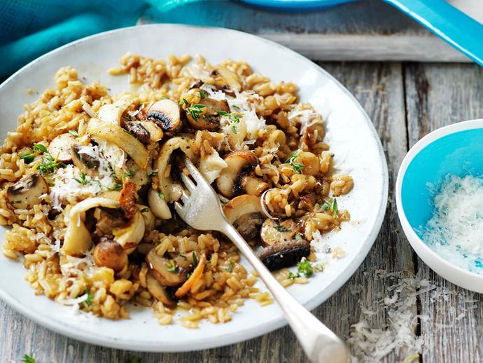 "**[Mushroom brown rice risotto](https://www.womensweeklyfood.com.au/recipes/mushroom-brown-rice-risotto-29306|target=""_blank"")**"