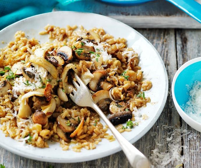 Mushroom brown rice risotto