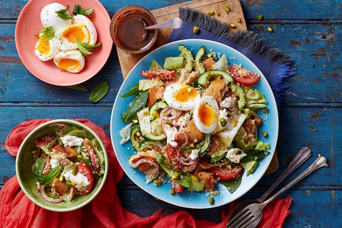 "**[Quinoa fattoush](http://www.womensweeklyfood.com.au/recipes/quinoa-fattoush-29312|target=""_blank""):** Fresh, wholesome and tasty - this delicious quinoa fattoush ticks all the boxes and will have you coming back for more."