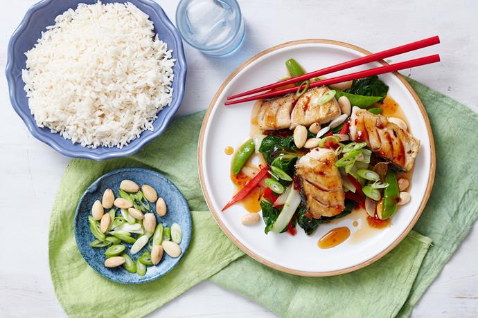 "Delicious and succulent [fish and chilli jam stir-fry](https://www.womensweeklyfood.com.au/recipes/fish-and-chilli-jam-stir-fry-29318|target=""_blank"") - a mouthwatering combination of flavours and textures, and simply perfect for dinner tonight!"