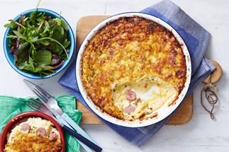 Cabanossi and corn impossible pie