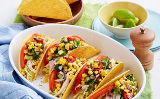 Chicken tacos with spicy cucumber salsa