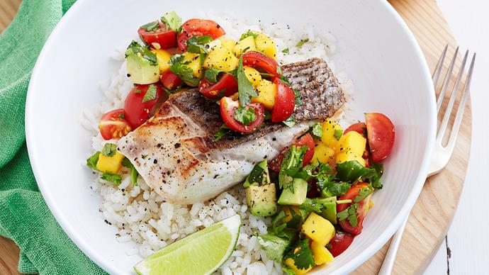 Grilled fish with mango salsa and coconut rice