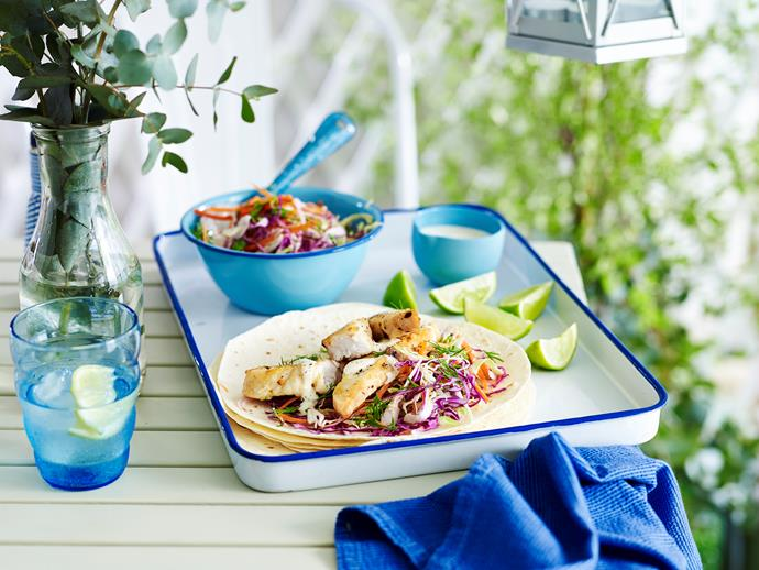 "**[Julie Goodwin's fish tacos](http://www.womensweeklyfood.com.au/recipes/julie-goodwins-fish-tacos-29336|target=""_blank""):** Fresh and fabulous, just one bite of these will make you feel like it's already summer."