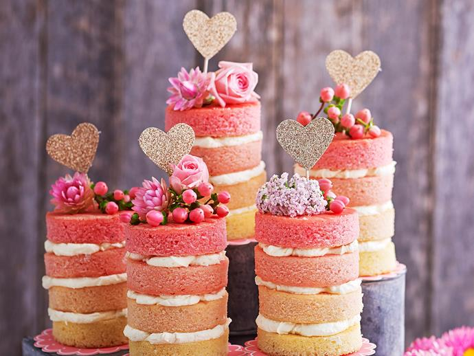"[Mini rose pink ombre cakes](http://www.womensweeklyfood.com.au/recipes/mini-rose-pink-ombre-cakes-29341|target=""_blank"")"