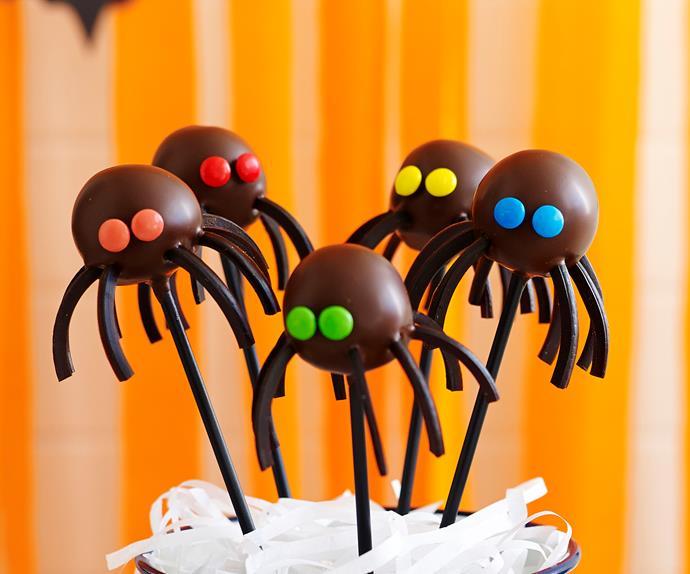 Halloween black spider cake pops