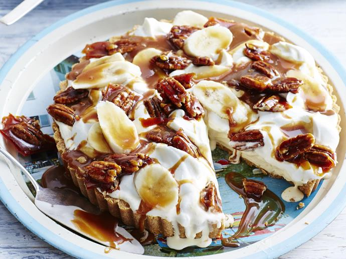 "**[Banoffee ice-cream tart with toffeed pecans](https://www.womensweeklyfood.com.au/recipes/banoffee-ice-cream-tart-with-toffeed-pecans-8042|target=""_blank"")**  With a crunchy biscuit base, ice-cream filling with sliced banana, toffeed pecans and a drizzle of caramel sauce, this decadent tart will satisfy the sweetest tooth."