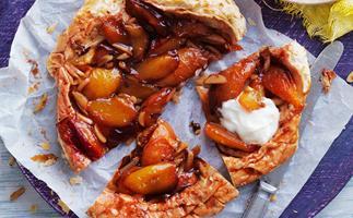 Nectarine and almond tarte tartin