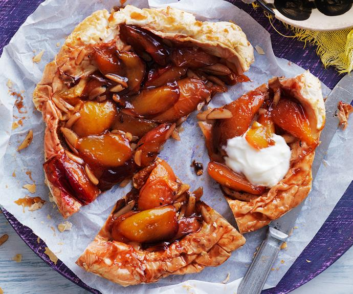 Nectarine and almond tarte tartin