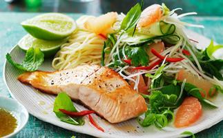 salmon with green papaya salad recipe