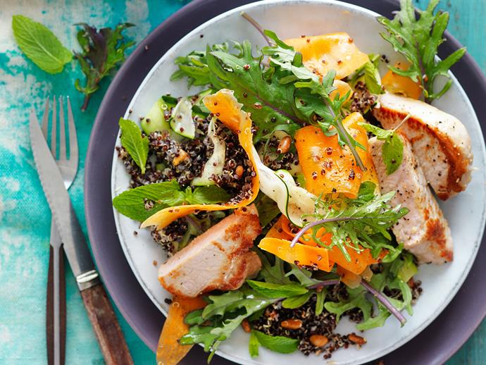 "Totally delicious and totally good for you - you simply can't go wrong with this [kale and quinoa salad with grilled pork](https://www.womensweeklyfood.com.au/recipes/grilled-pork-with-quinoa-and-kale-salad-29310|target=""_blank"")! And it's perfect for diabetics too."