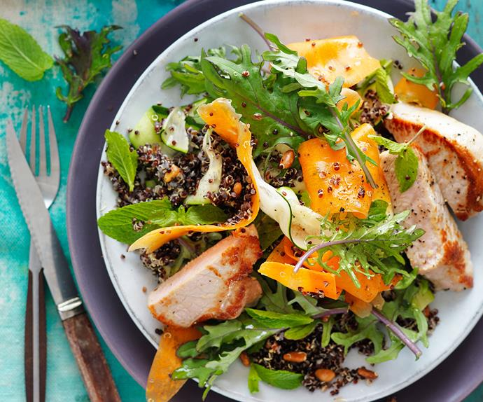 Grilled pork with quinoa and kale salad