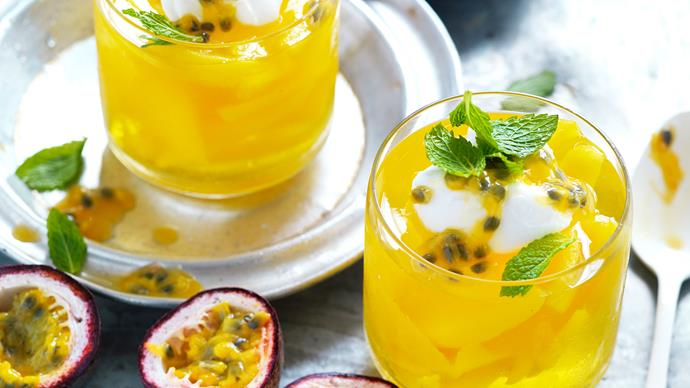 Tropical jelly with coconut yoghurt
