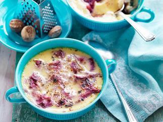 Rhubarb and vanilla baked custard