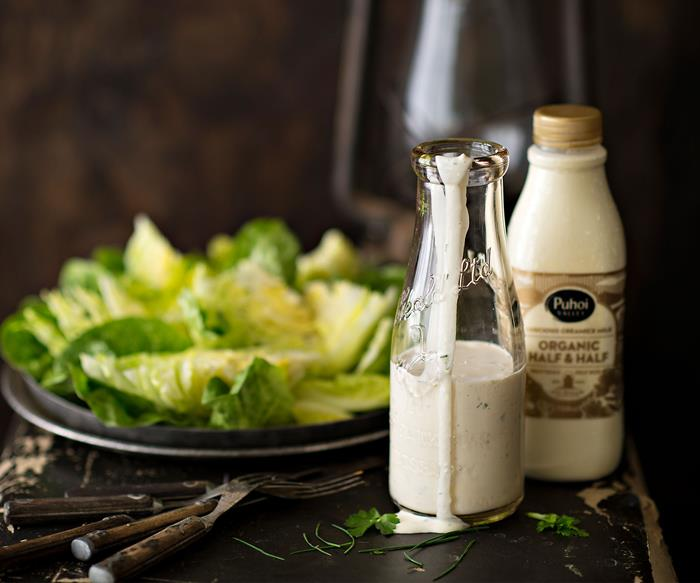 Market salad with ranch dressing