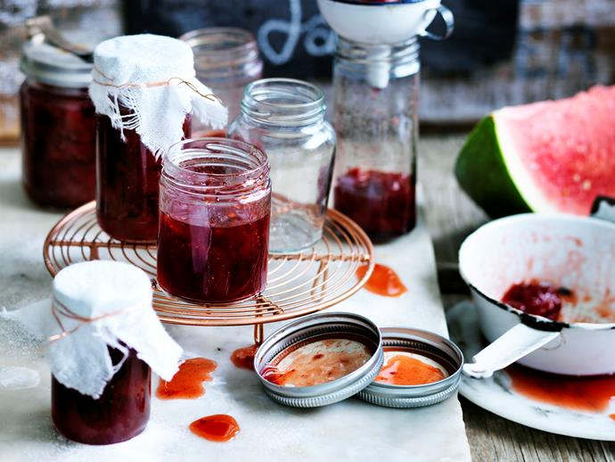 """This [watermelon and rosewater conserve](https://www.womensweeklyfood.com.au/recipes/watermelon-and-rosewater-conserve-29362