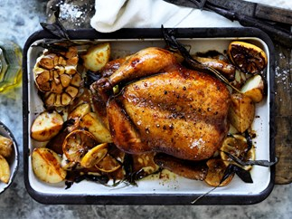 Tea brined roasted chicken