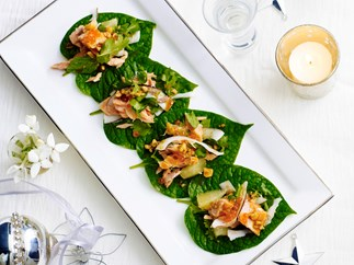 Hot-smoked trout with fresh coconut