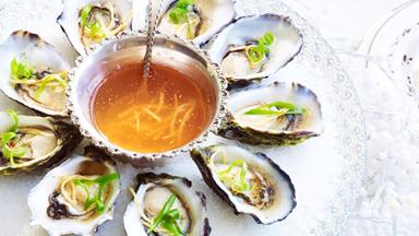 Oysters with chilli and ginger dressing