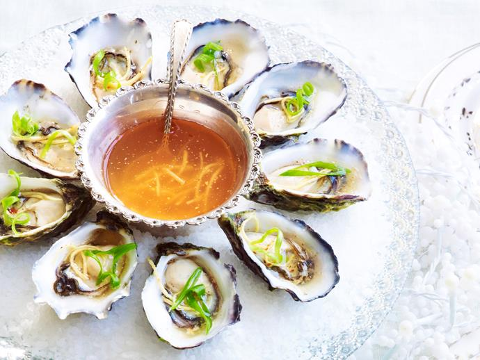 "**Oysters with chilli and ginger dressing** <br><br> Fresh and full of flavour - oysters with chilli and ginger dressing. The perfect Summer meal. <br><br> [**Read the full recipe here**](https://www.womensweeklyfood.com.au/recipes/oysters-with-chilli-and-ginger-dressing-29371|target=""_blank"")"