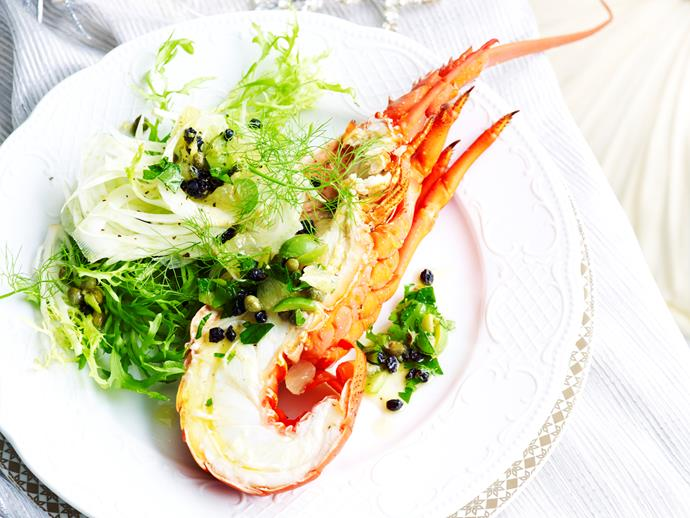 "**Lobster with fennel salad** <br><br> Gather up the family and enjoy this fresh lobster with fennel salad - the perfect seafood dish for the festive season (or any time). <br><br> [**Read the full recipe here**](https://www.womensweeklyfood.com.au/recipes/lobster-with-fennel-salad-29372|target=""_blank"")"