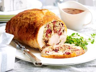 Turkey roll with cherry and almond stuffing