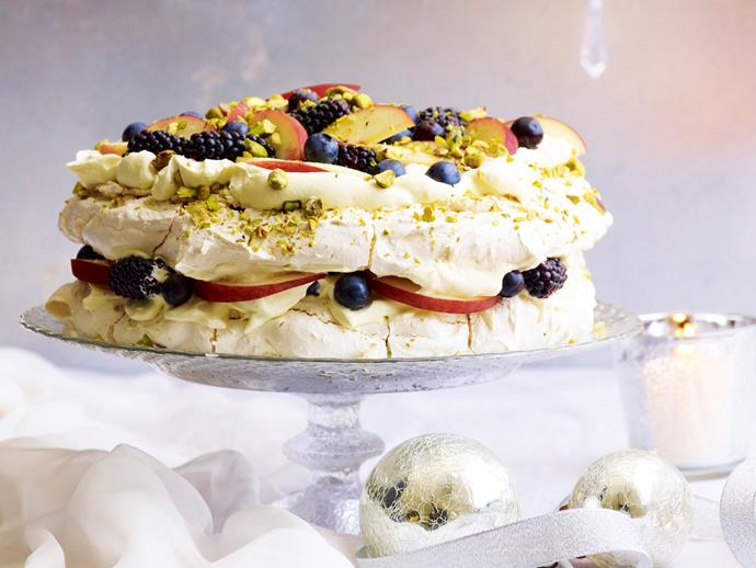 "**Pistachio meringue with white peaches and berries** <br><br> Sweet, sugary, and the perfect Christmas treat! This indulgent pistachio meringue with white peaches and berries is the ultimate dessert. <br><br> [**Read the full recipe here**](https://www.womensweeklyfood.com.au/recipes/pistachio-meringue-with-white-peaches-and-berries-29375|target=""_blank"")"