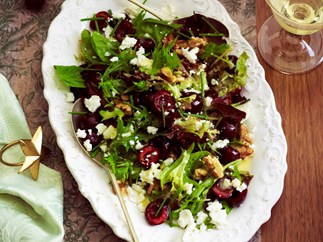 Cherry, walnut and feta salad