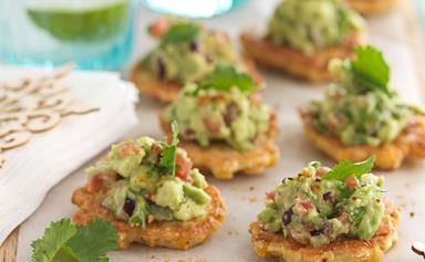 Polenta corn cakes with guacamole