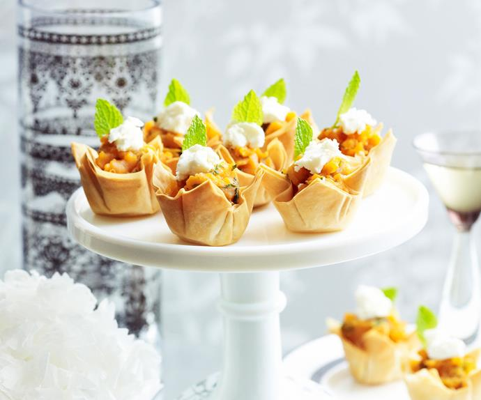 Sweet potato, mint and goat's cheese tartlets