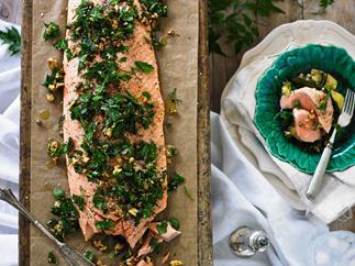 Salmon with herb & walnut salsa