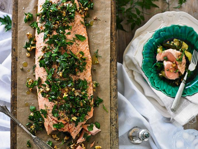 "**Salmon with herb and walnut salsa** <br><br> This beautiful roasted salmon with a herb and walnut salad is a light and refreshing option to serve for Christmas dinner. <br><br> [**Read the full recipe here**](https://www.womensweeklyfood.com.au/recipes/salmon-with-herb-and-walnut-salsa-29392|target=""_blank"")"