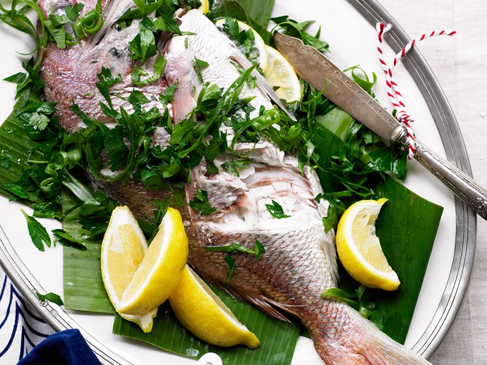 Whole fish with green onion mayo
