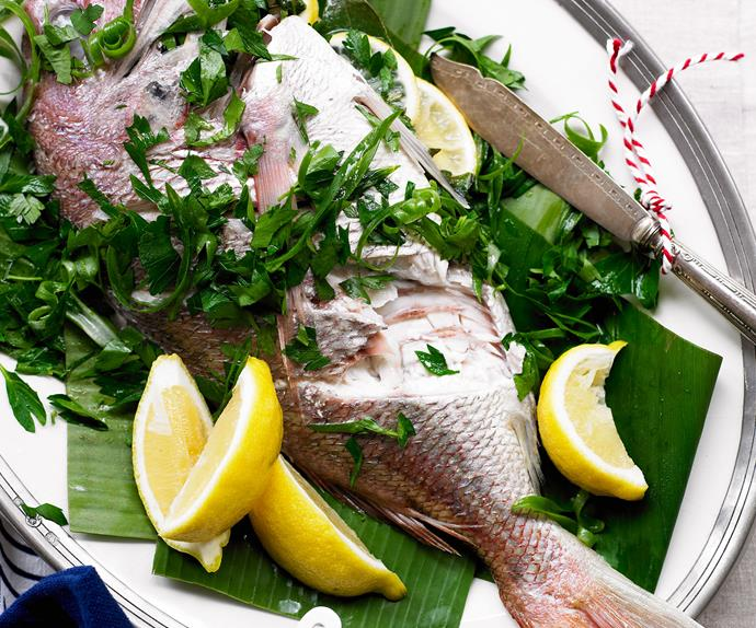 Whole fish with green onion mayo