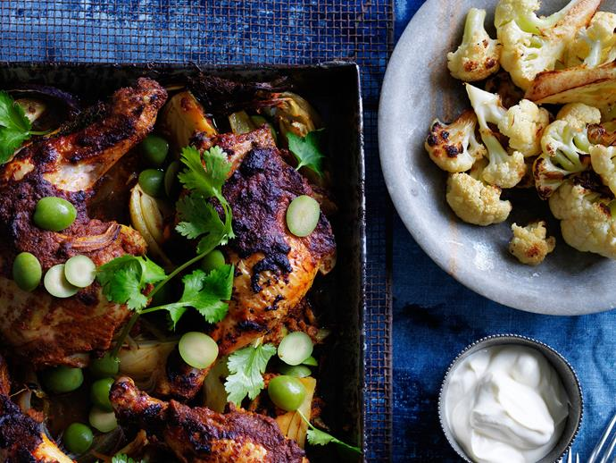"Get spiced with this [Moroccan-roasted style chicken and cauliflower](https://www.womensweeklyfood.com.au/recipes/moroccan-roast-chicken-and-cauliflower-29395|target=""_blank""). Scatter olives and coriander over chicken and serve with a ramekin of greek-style yoghurt."