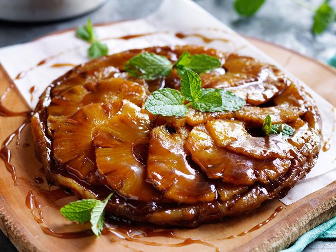 "This month is a the perfect time to grab yourself some pineapple. There are so many ways to use this delicious fruit including this [pineapple and cardamom tarte tartin](https://www.womensweeklyfood.com.au/recipes/pineapple-and-cardamom-tarte-tatin-29396|target=""_blank""), this [pineapple coconut cake](https://www.womensweeklyfood.com.au/recipes/pineapple-coconut-cake-3386