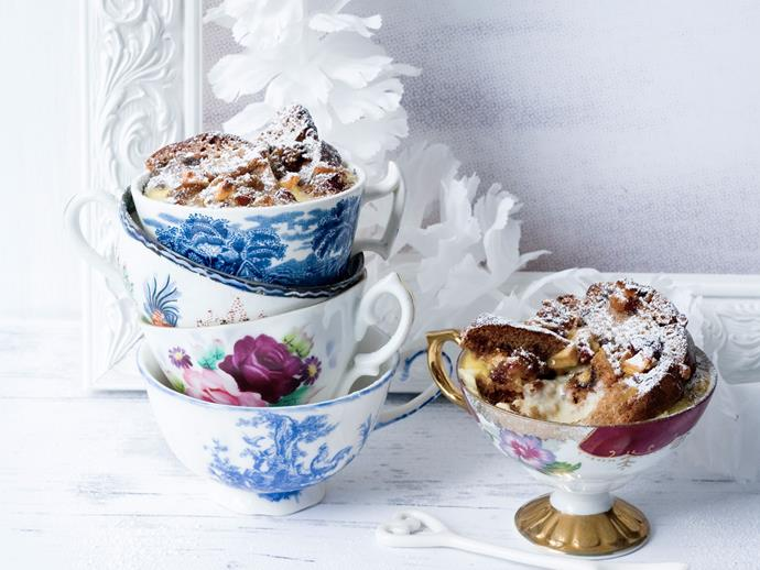 """**Panettone puds** <br><br> Panettone is a sweet yeasted bread originally from Italy. Serve on warm on Christmas eve in fancy tea cups and dust with ice sugar. <br><br> [Read the full recipe here.](http://www.foodtolove.com.au/recipes/panettone-puds-30804