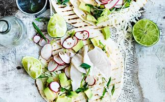Kingfish ceviche tacos with pickled radish
