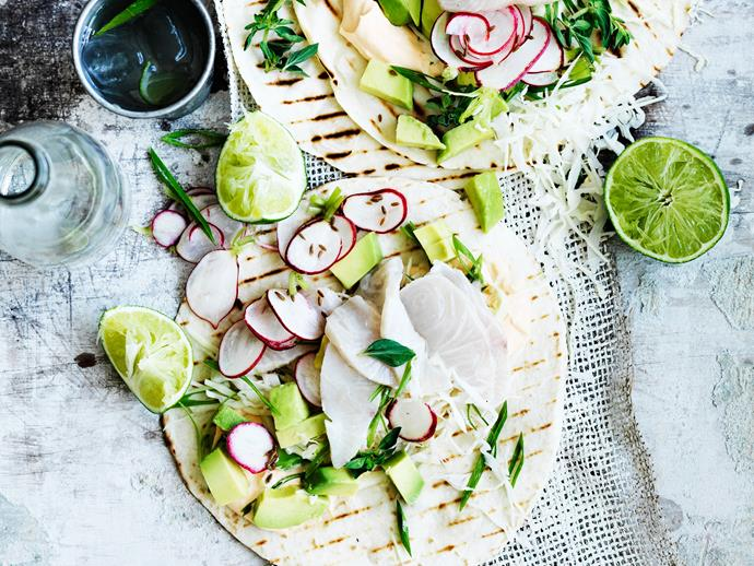 "**[Kingfish ceviche tacos with pickled radish](http://www.womensweeklyfood.com.au/recipes/kingfish-ceviche-tacos-with-pickled-radish-29403|target=""_blank""):** For the everyday vege-quarian, someone who is happy to eat fish and seafood (aka pescetarian). These fresh and citrusy King-fish ceviche tacos are a winner."