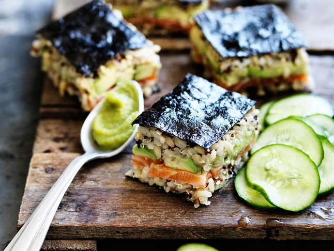 """**[Spicy salmon mixed-grain sushi](https://www.womensweeklyfood.com.au/recipes/spicy-salmon-mixed-grain-sushi-29405