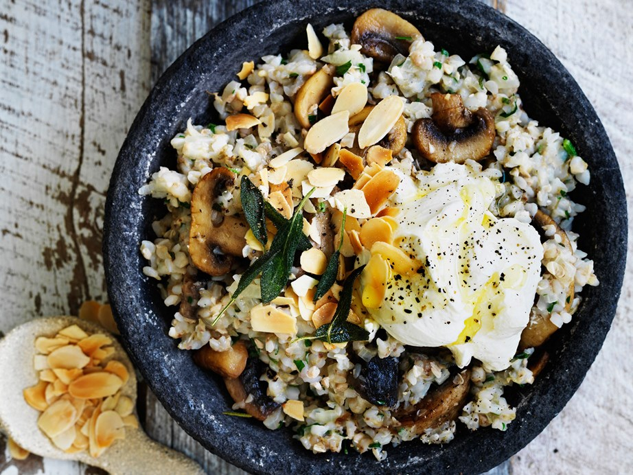"""**[Mushroom, sage and buckwheat risotto](https://www.womensweeklyfood.com.au/recipes/mushroom-sage-and-buckwheat-risotto-29432