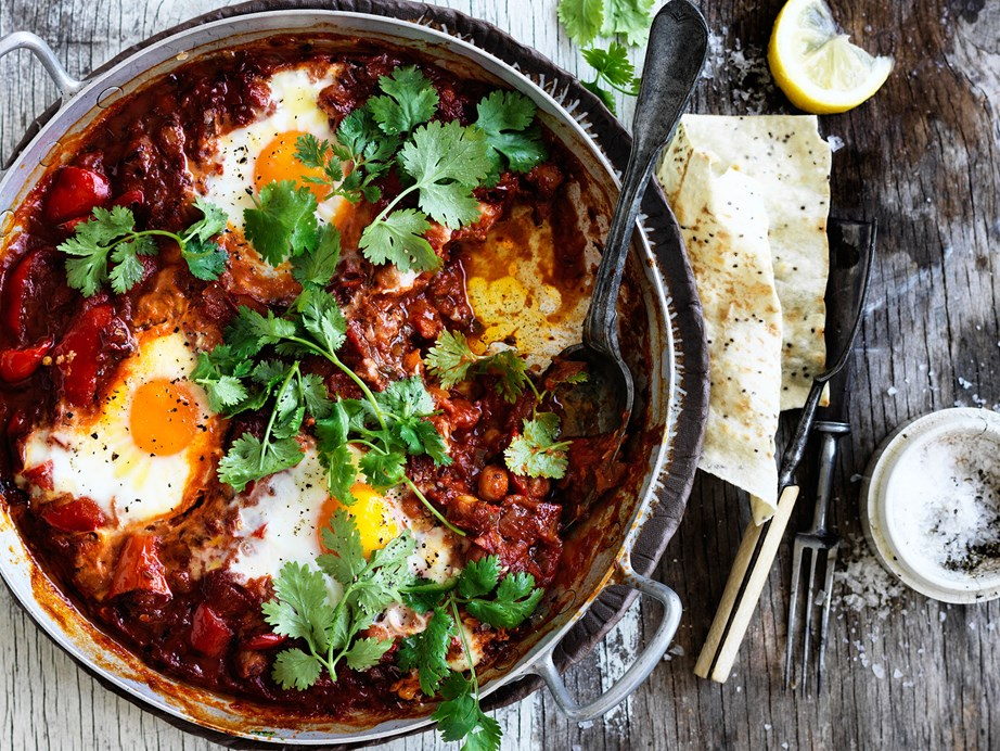 """This Moroccan inspired [chickpea shaskuka](https://www.womensweeklyfood.com.au/recipes/chickpea-shakshuka-29437 target=""""_blank"""") dish has a spicy kick to it and is just as delicious for breakfast or dinner!"""