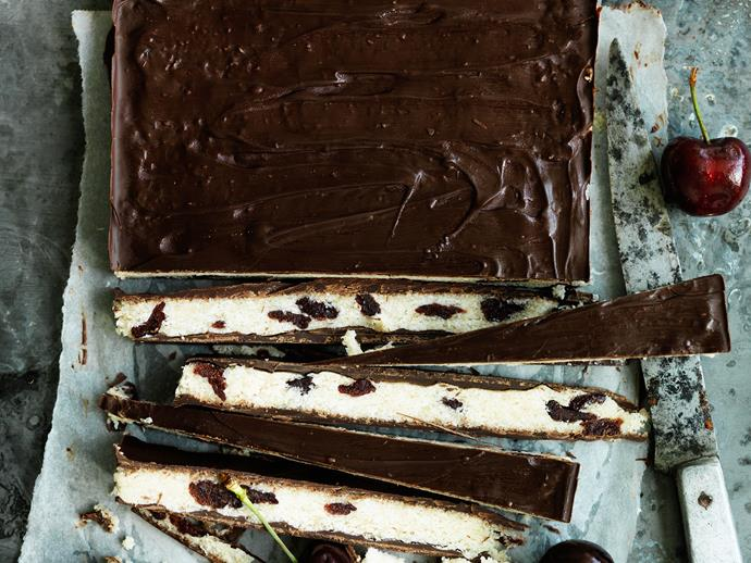 "[Choc-cherry coconut bars](https://www.womensweeklyfood.com.au/recipes/choc-cherry-coconut-bars-29440|target=""_blank"")"