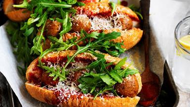 "Eggplant parmigiana ""meatball"" subs"