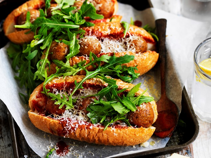 "[Eggplant parmigiana ""meatball"" subs](http://www.foodtolove.com.au/recipes/eggplant-parmigiana-meatball-subs-30841